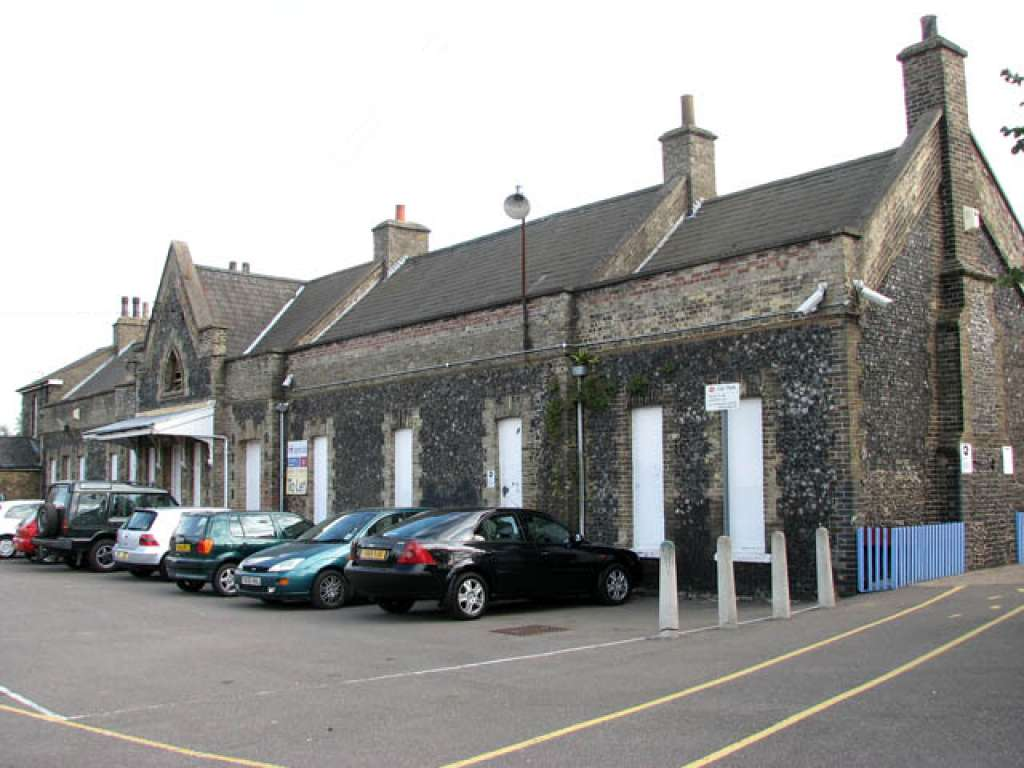 View of the napped flint station building from the existing car park (Credit: Wikipedia)
