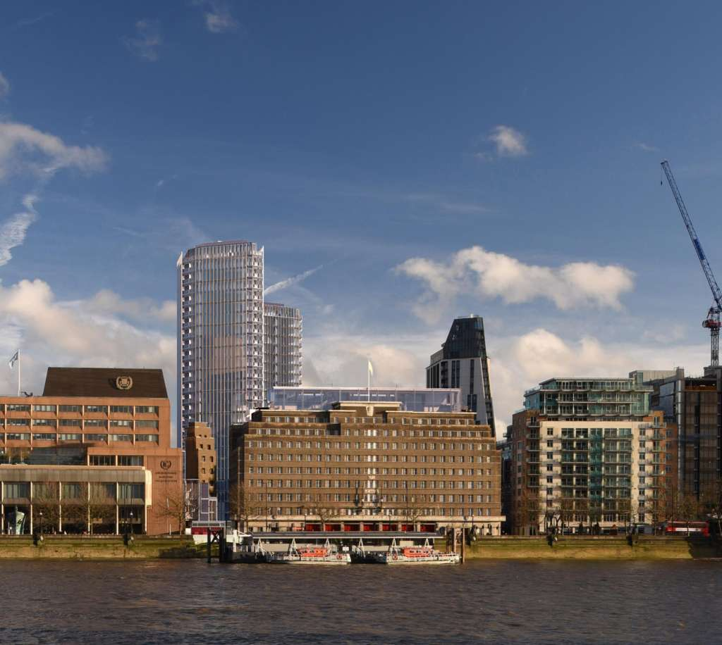 View towards the Albert Embankment with the proposed towers behind (Planning Documents)