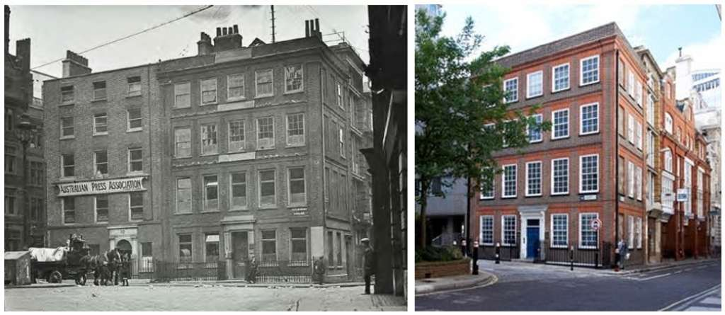 No.1 Salisbury Square in 1925 and 2020, which is slated for demolition under the plans