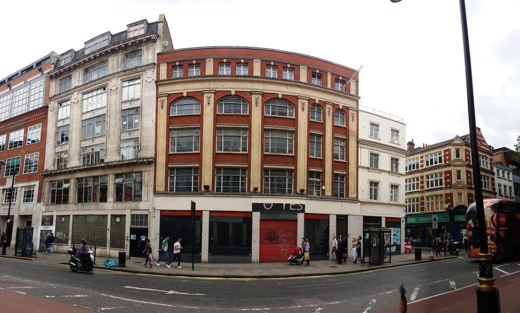 Panorama of the site from Charing Cross Road. The remains of the old Foyles sign can still be seen.