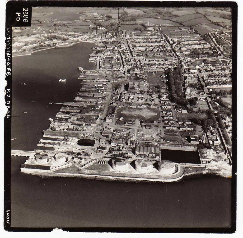 Aerial photograph looking down across Pembroke Dockyard taken by the RAF in 1943 (David Green)