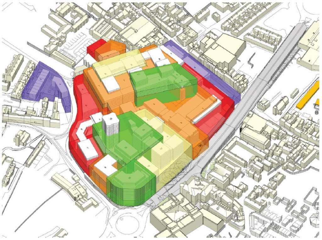 View from the south west showing the proposed massing of blocks at Anglia Square (Planning Docs)