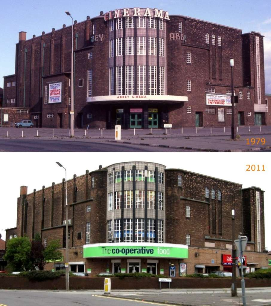 The contrast of the cinema in 1979 and as a supermarket in 2011 (Love Wavertree)