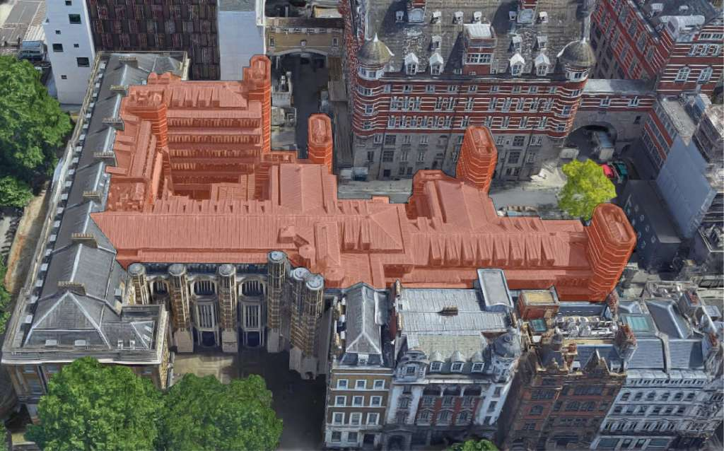 An aerial view showing in red the extent of demolition proposed at Richmond House (Credit: SBH)