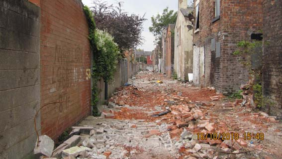 Devastation left in back alley between Cairns Street and Beaconsfield Street