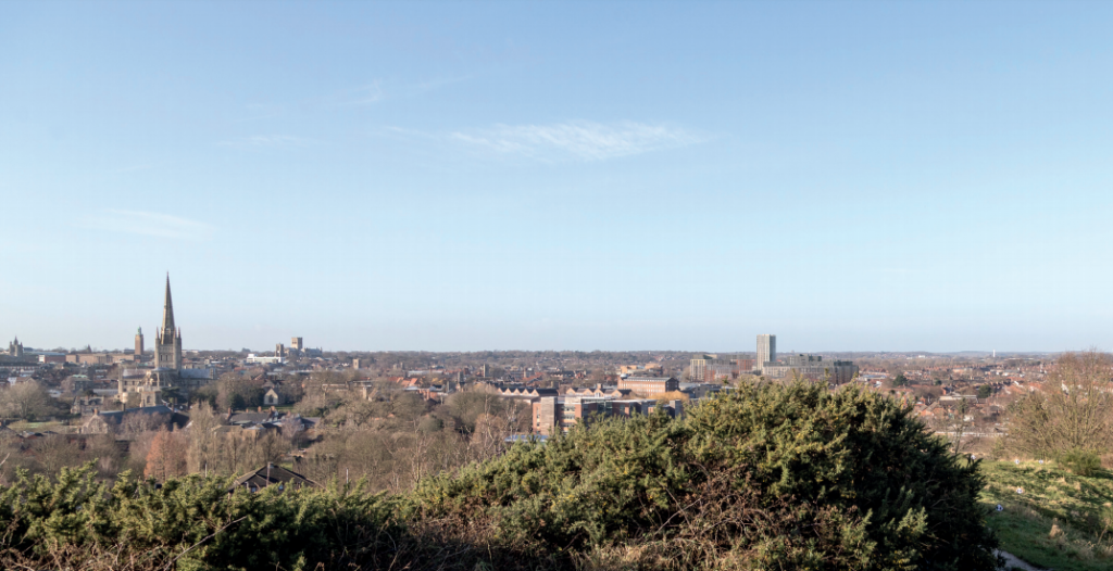 The Norwich skyline showing the proposed tower (to the right) in relation to the Cathedral