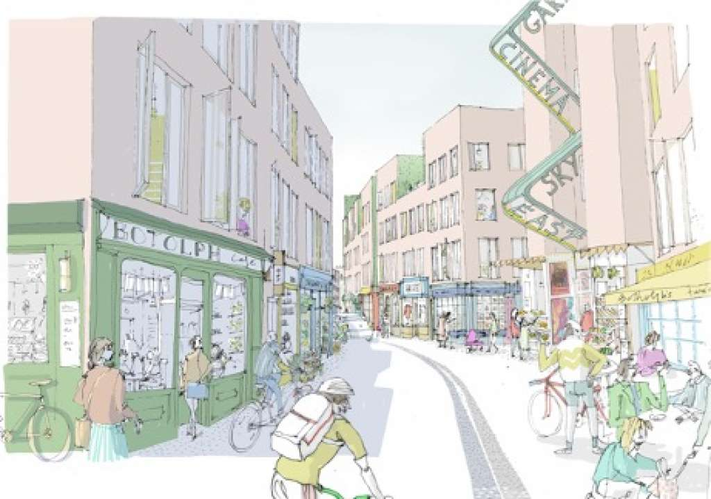 Artistic impression from the alternative vision for Anglia Square by Ash Sakula Architects