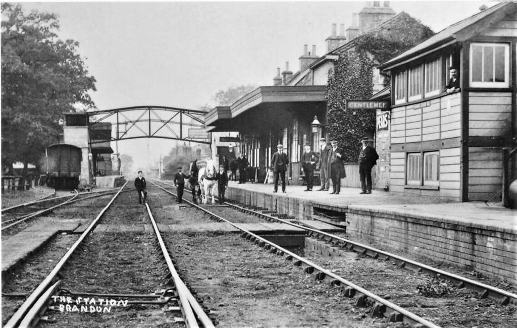 Brandon Station looking west along the tracks in c.1910 (Credit: M Fell)