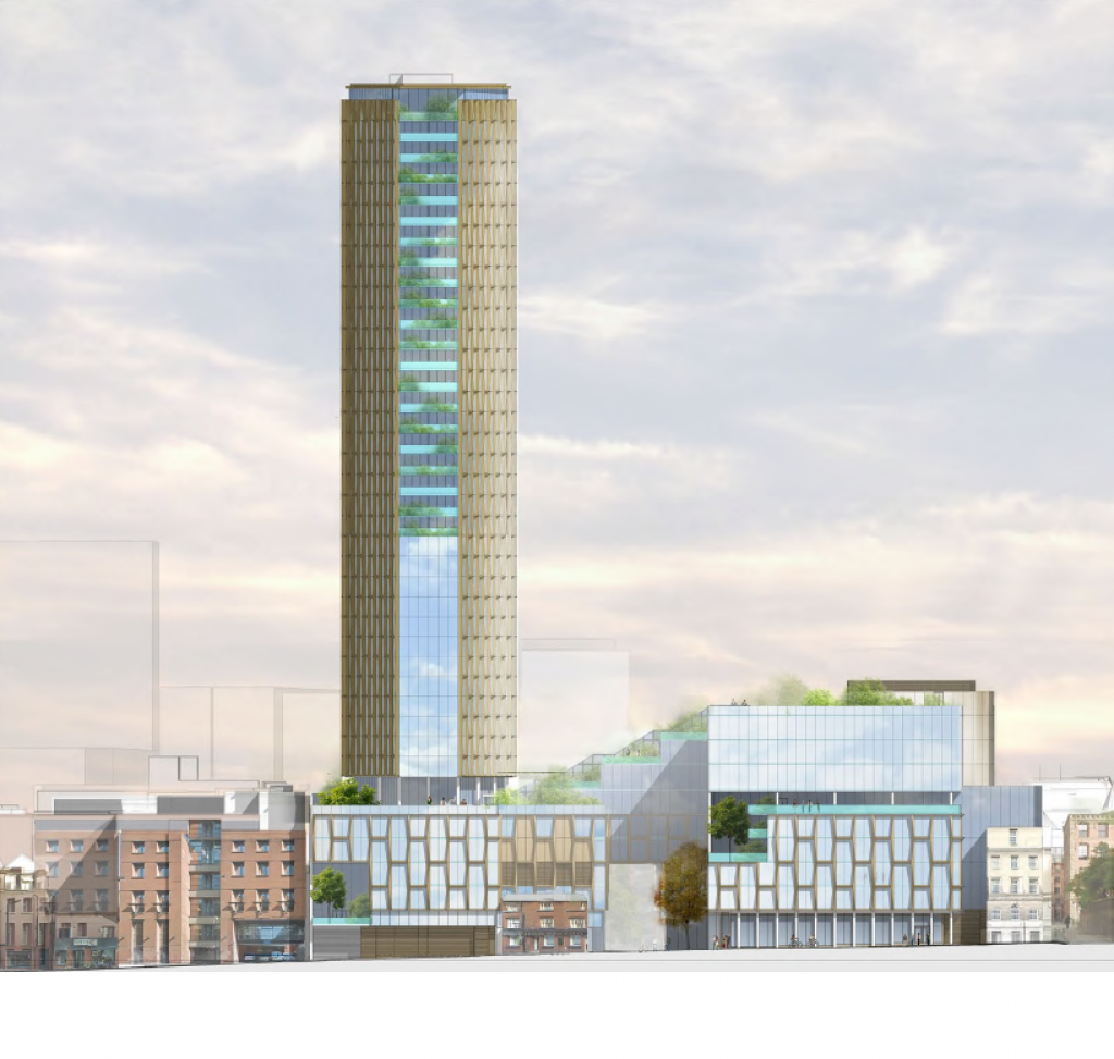 A planning application drawing showing the height of the proposed tower in context