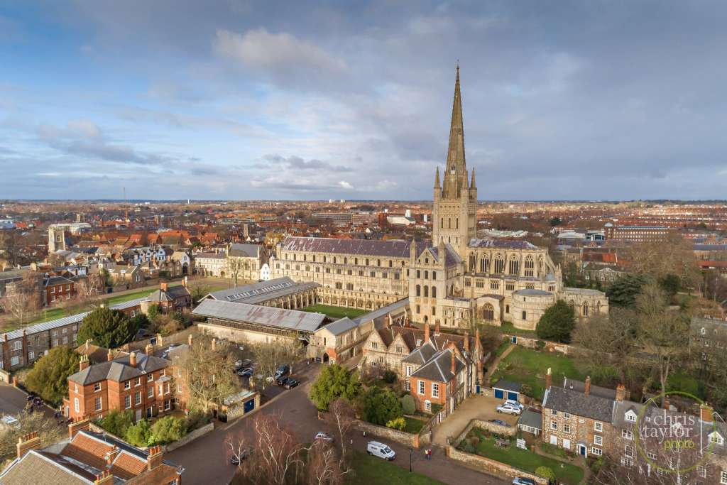 View looking north of Norwich Cathedral with Anglia Sq in the background (Brian Lewis)