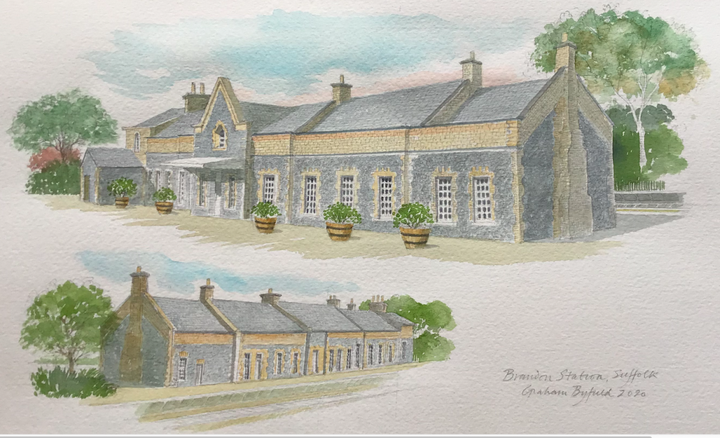 Watercolour of a restored Brandon Station by artist Graham Byfield