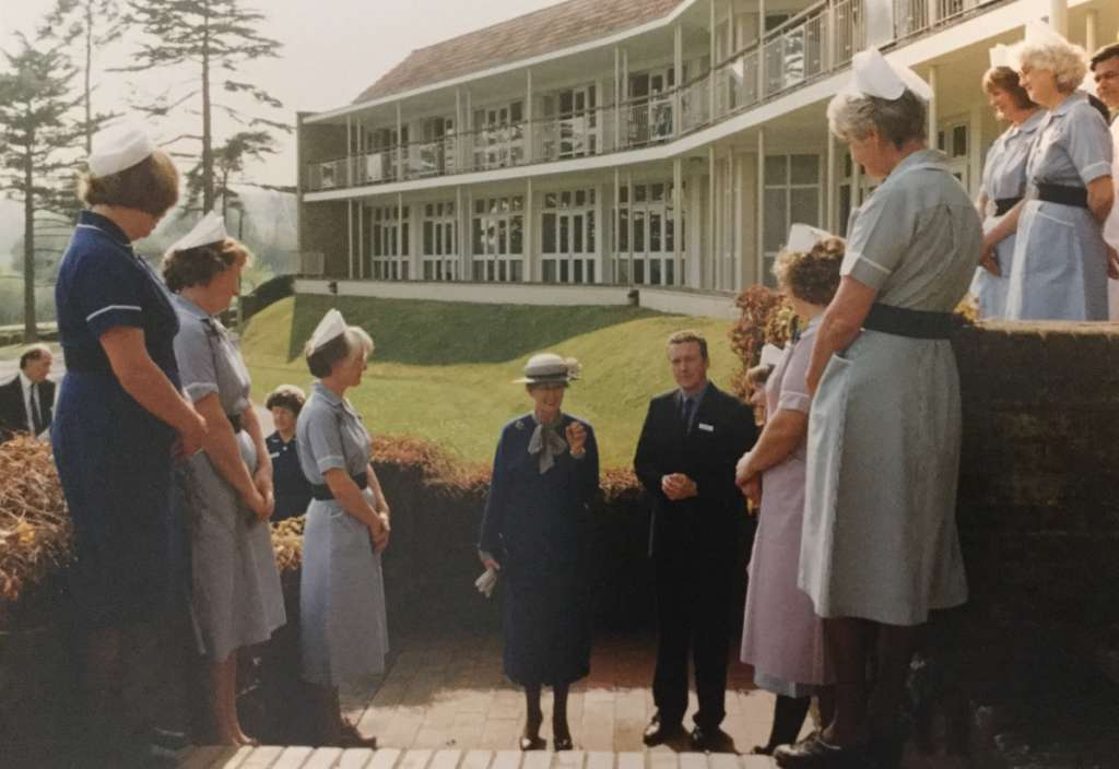HRH Princess Alexandra outside the sanatorium during a royal visit in 1993 (Credit: Benenden Heritag