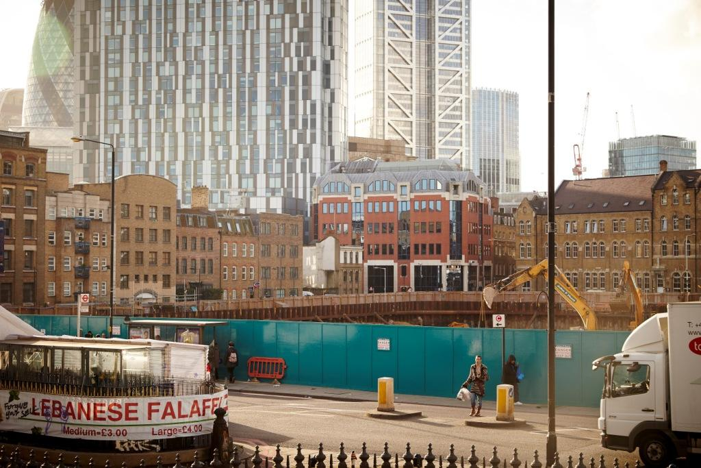 The cleared site of the London Fruit and Wool Exchange, with Bell Lane beyond, Toby Glanville