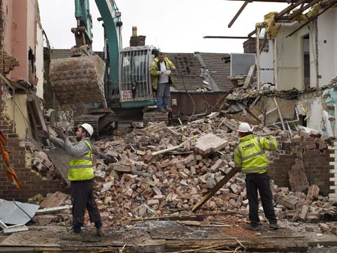 Demolition men in Janet Street, Liverpool (April 2012)