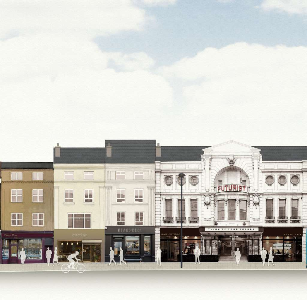 SAVE's vision for Lime Street, showing buildings and the Futurist facade restored