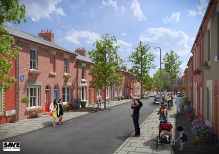 CGI Commissioned by SAVE showing how Madryn Street could look if refurbished and reinhabited