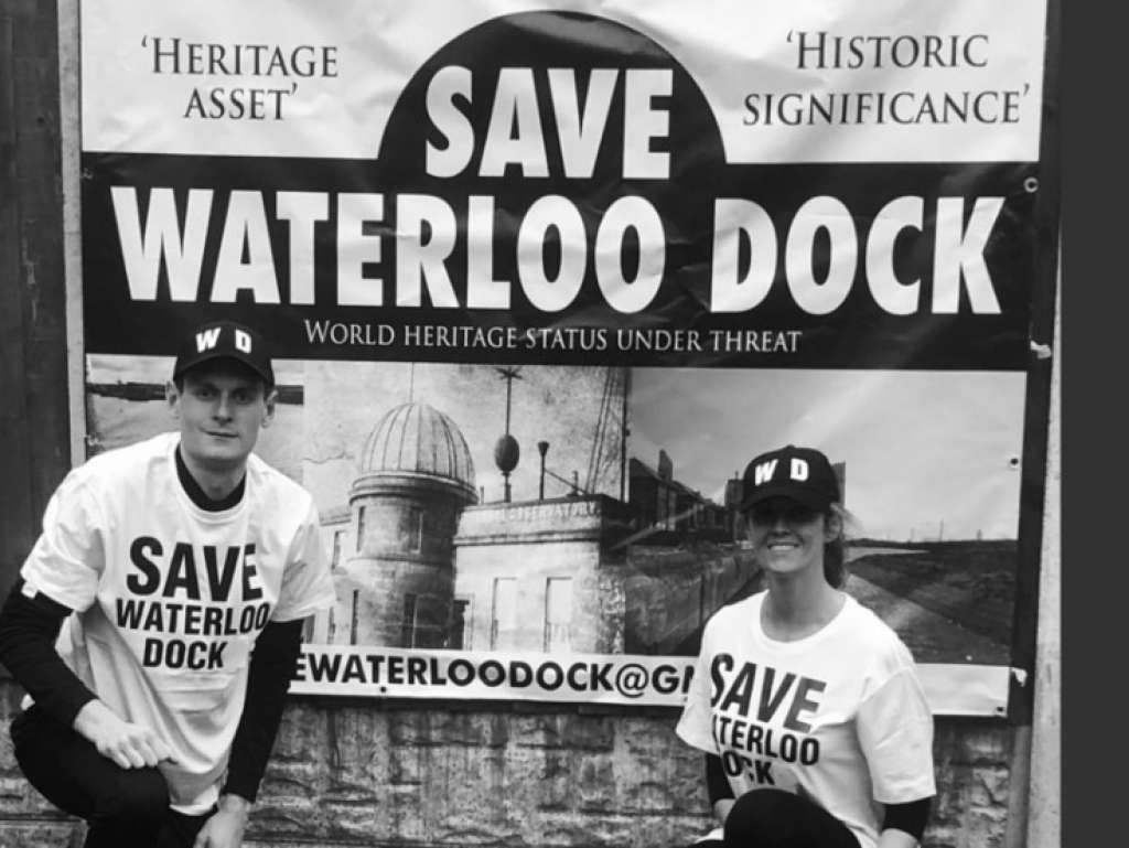 Save Waterloo Dock campaigners in Liverpool city centre (Credit: SWD Website)