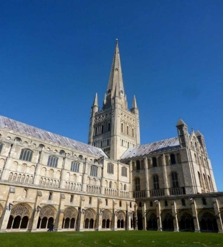 The 13th century spire of Norwich Cathedral