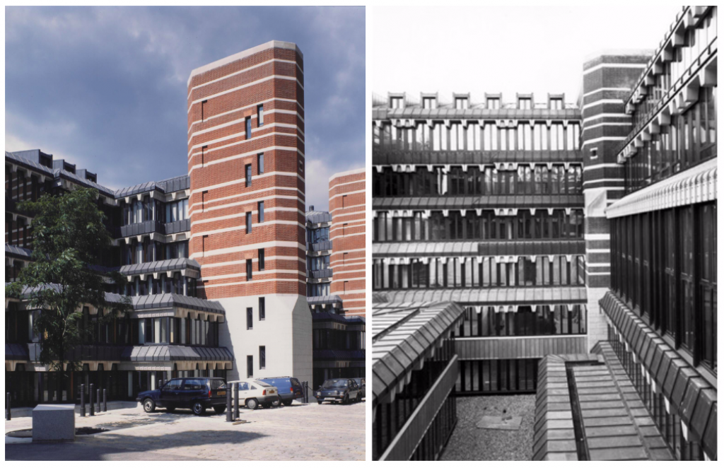 The rear facades of Richmond House, with tiers of naturally lit offices and striped towers (RIBA and