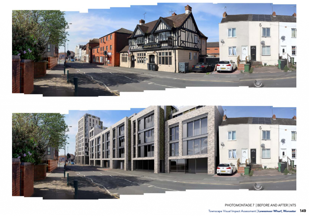 Photomontage showing the current (top) vs proposed (below) view down Lowesmoor Terrace