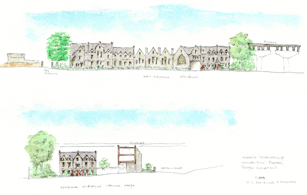 Site elevation sketch by Philip Tilbury showing the school buildings retained