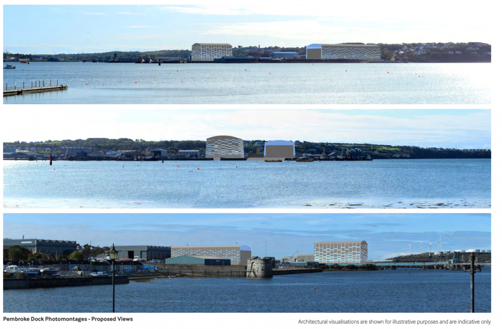 CGI impressions of how the proposed 5-storey warehouses will impact the Dockyard setting