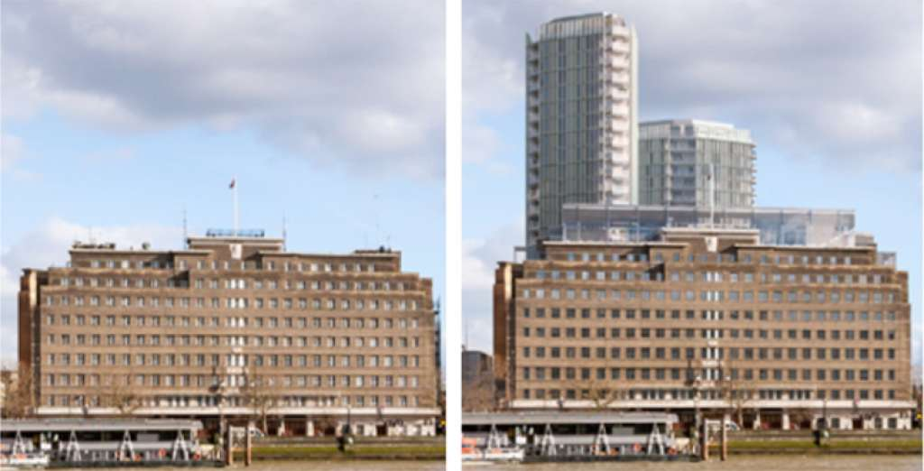 View of the Albert Embankment before and after the proposed towers (Lambeth Village)