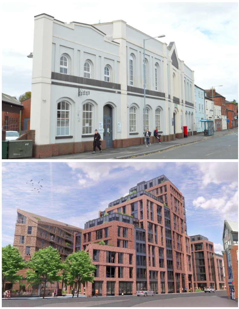 View of Vesta Tilley House before (above) and after (bottom) development (Credit: SBH)