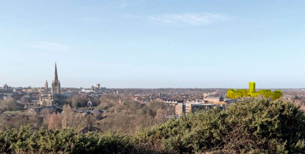 View of the Norwich Skyline from Motram Monument with the proposed development in yellow