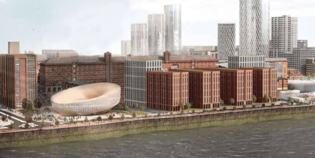 Romal Capital CGI of proposed tower blocks sitting atop the infilled dock