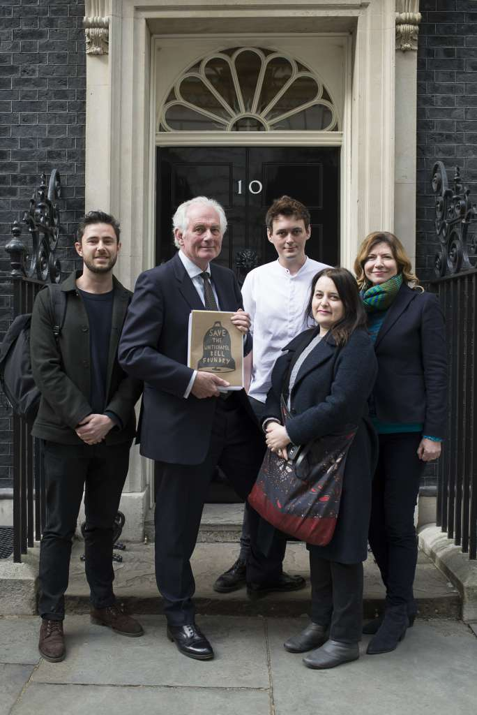 Dan Cruickshank and heritage campaigners submitting the petition to Downing Street