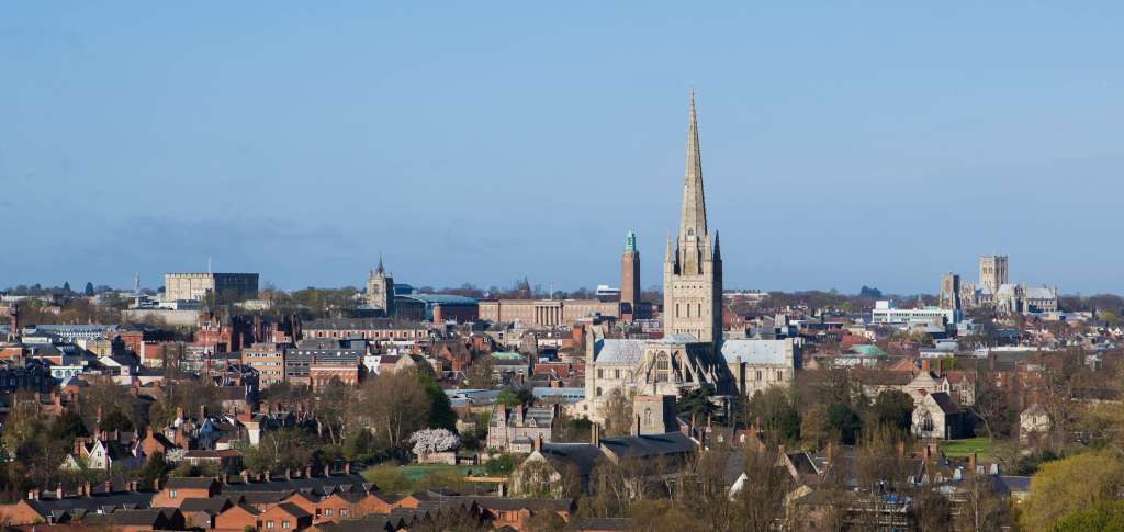 The historic view from St James' Hill of Norwich's skyline (Credit: A Hurley)