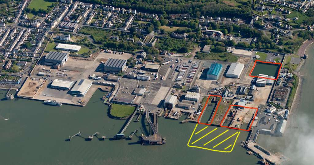 Aerial image showing in red the graving dock, slips and timber pond set to be infilled
