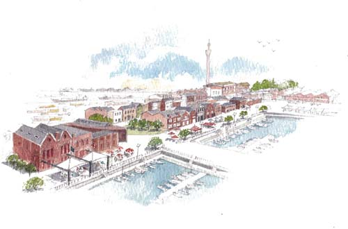SAVE's vision for Grimsby's fish docks (Artist: Graham Byfield)