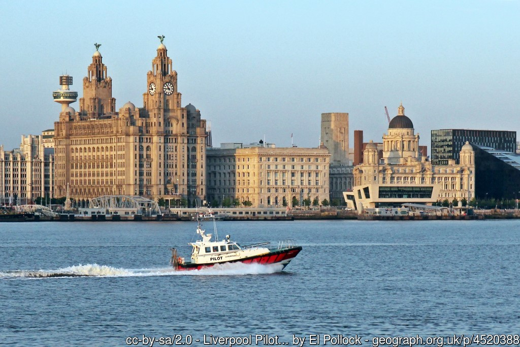 Royal Liver Building, Cunard Building, and Port of Liverpool. Photo El Pollock via Geograph