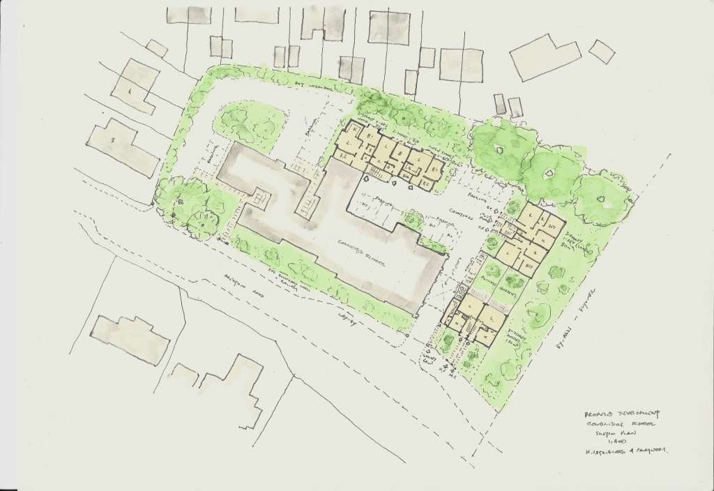 Sketch by Philip Tilbury of the proposed site plan around the existing school buildings